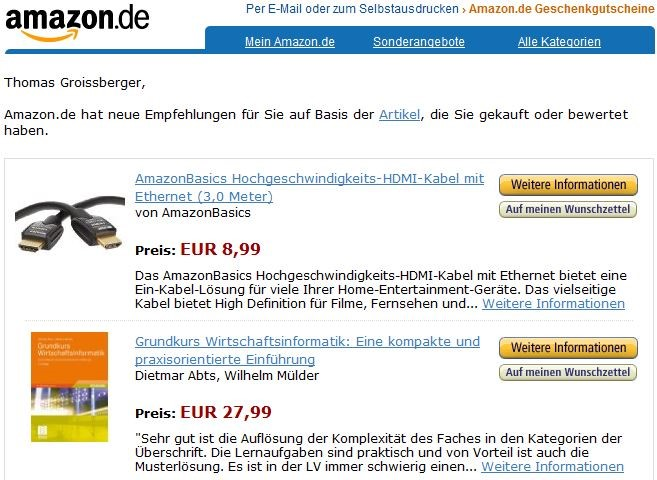 E-Mail Remarketing am Beispiel Amazon